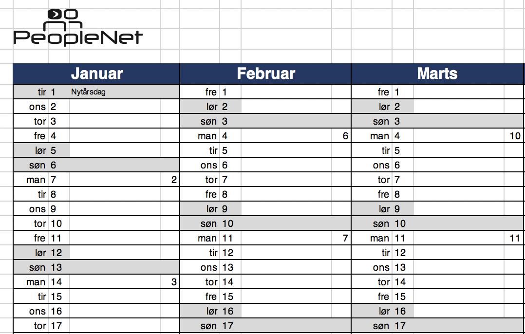 Gratis Excel Kalender