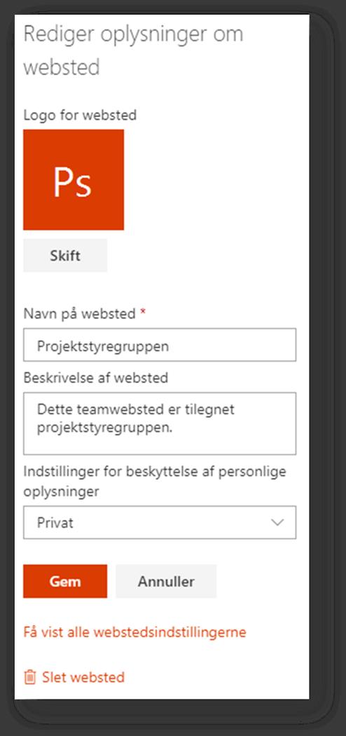 Slet Teamwebsted 2
